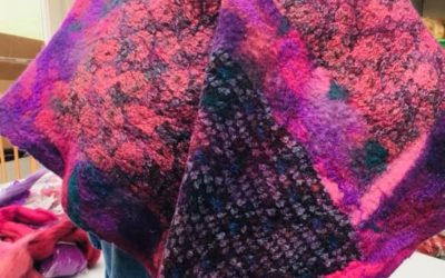 Pink nuno felted scarf