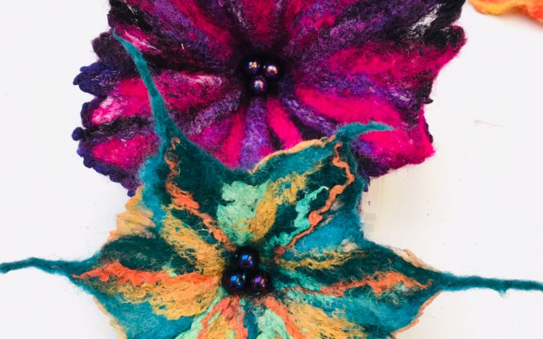 Wet Felted Silk Flower Brooches