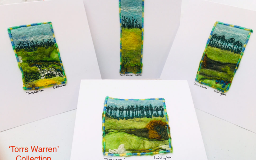 Sets of themed felted greeting cards/miniature pictures for frames
