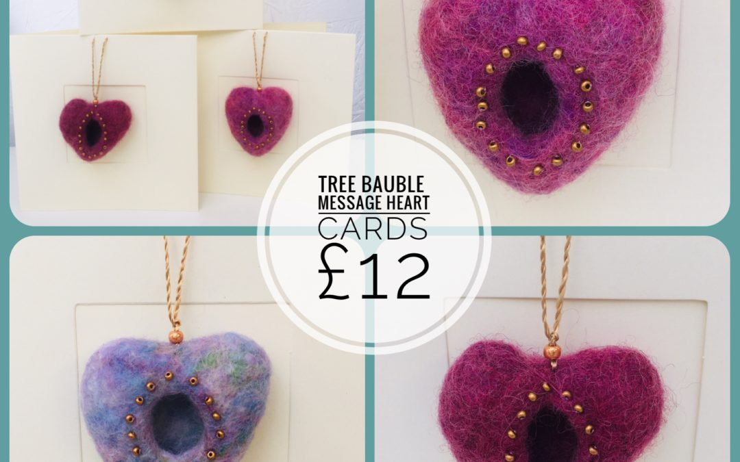 Message Hearts – tree bauble cards