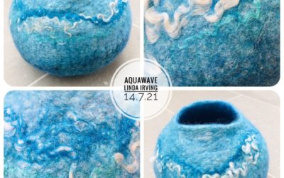 Felted Art – 'Aquawave' Felted Vessel